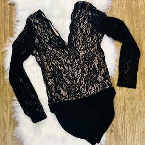 Express Tops - Express Deep V-Neck Lace Bodysuit sz S